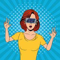 Kvinna med virtual reality-glasögonteknologi