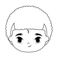 Kopf des netten Avatar-Charakters des kleinen Jungen