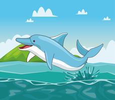 Delfin i havet tecknad