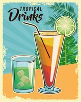 tropisk cocktail affisch vektor