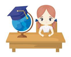 Studentenmädchen, das in der Schulbank mit Versorgungsmaterialbildung sitzt