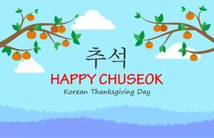 Chuseok eller Hangawi eller koreansk Thanksgiving Day gratulationskortbakgrund vektor