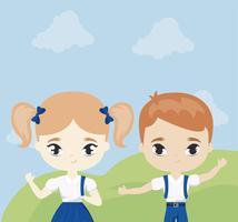 söta små studenter i landskapsscen