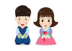 Nette Karikaturpaarkinder im koreanischen traditionellen Kostüm auf weißem Hintergrund vektor
