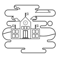 Schulgebäude Fassade in Landschaftsszene
