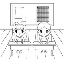 små studentflickor i klassrumsscenen