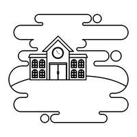 skolbyggnad fasad i landskap scen vektor