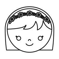 Cartoon Frau Gesichtssymbol