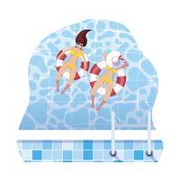 flickor med baddräkt och livräddare flyter i vatten vektor