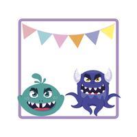 fyrkantig ram med roliga monster och kransar hängande