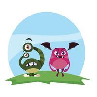 roliga monster par i fältet karaktärer färgglada