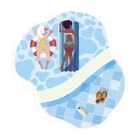 interracial flickor med baddräkt och livräddare flyter i vatten