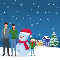 glad jul på vintern vektor