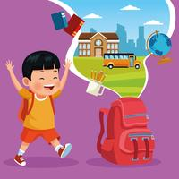 Tillbaka till skola barnens tecknade filmer vektor