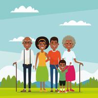 Familj med barntecknad film