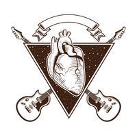 Rock-and-Rollweinleseemblem mit Zeichnungen