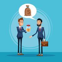 Geschäftsmänner, die über Geschäftskarikatur sprechen