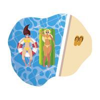 Mädchen mit Badeanzug im Bademeister und Matratze schwimmt im Wasser