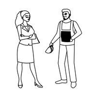 manlig byggmästare med kvinnotekniker