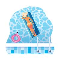 Frau, die in der Hin- und Herbewegungmatratze schwimmt in Wasser sich bräunt vektor