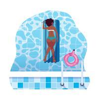 Afrofrau, die in der Flossmatratze schwimmt in Wasser sich bräunt vektor