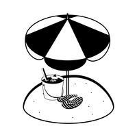 sommarsandstrand med paraply och flip flops