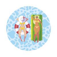 flickor med baddräkt i badvakt och madrass flyter i vatten vektor