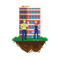 par byggare konstruktörer arbetare med byggnad vektor