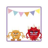 quadratischer Rahmen mit lustigen Monstern und dem Girlandenhängen