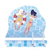 flickor med baddräkt och livräddare flyter i vatten