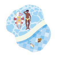 interracial par med baddräkt och flyta i vatten