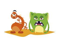 Comicfiguren der lustigen Monsterpaare bunt vektor
