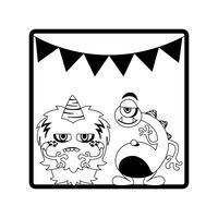 monokrom ram med monster och kransar hängande