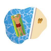 junger Mann mit Badeanzug und Schwimmmatratze im Wasser vektor