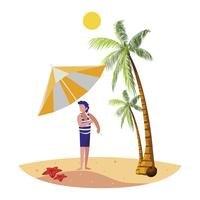ung pojke på sommarscenen på stranden vektor