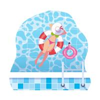 kvinna med baddräkt och livräddare som flyter i vatten vektor