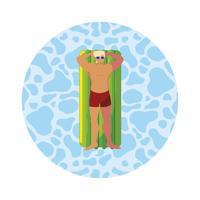 junger Mann mit Badeanzug und Schwimmmatratze im Wasser