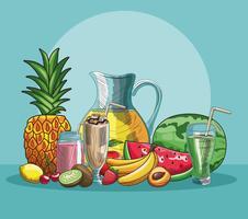 Hand gezeichnete Früchte und Getränke