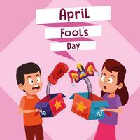 April dumma pojke- och flickatecknad film vektor