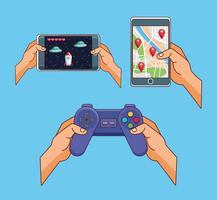 Cartoons mit Smartphone-Spielen vektor