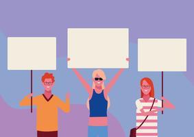 Leute mit Plakaten