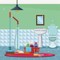 hushållning rengöring tecknad vektor