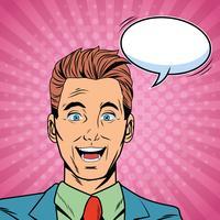 Geschäftsmann, der Pop-Arten-Karikatur spricht