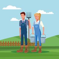 Landwirte, die in den Bauernhofkarikaturen arbeiten vektor