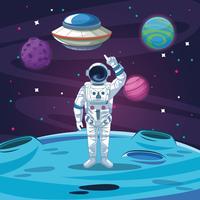 Astronaut in der Galaxiekarikatur