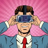 Pop-Art-Karikatur der virtuellen Realität des Geschäftsmannes