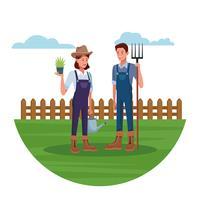 Jordbrukare som arbetar i lantgårdsteckningar vektor