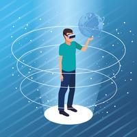 Karikaturen der virtuellen Realität und der Freunde vektor