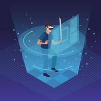 Karikaturen der virtuellen Realität und der Freunde
