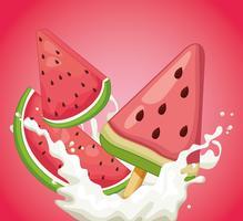 Eis am Stiel mit Erdbeere
